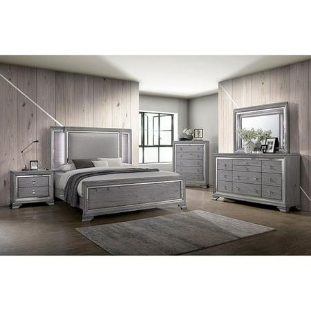 Color Finished Bedroom Set - Contemporary Gray Color Finish Bedroom Furniture 4pc Eastern King Size Set