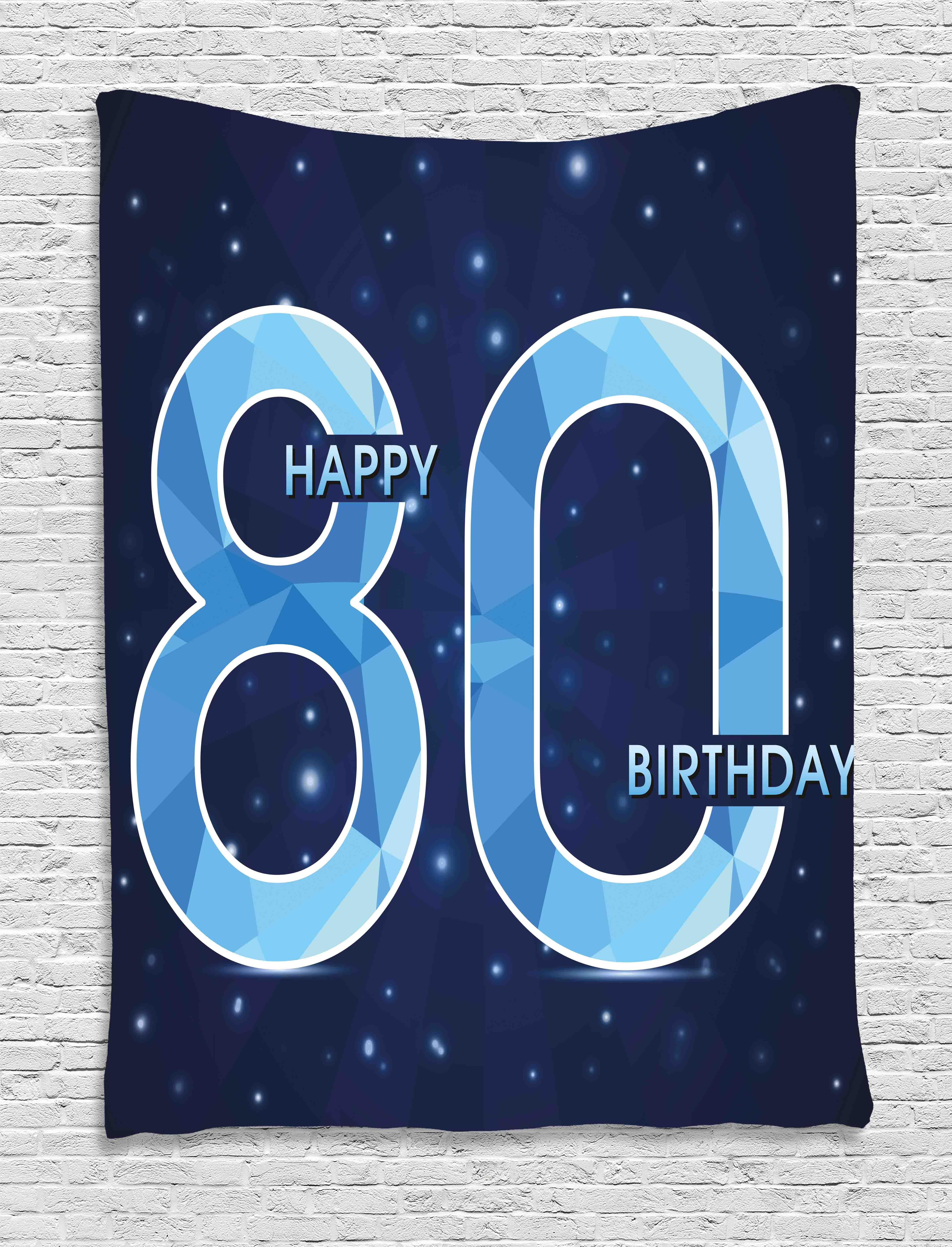 80th Birthday Decorations Tapestry Diamond Age 80 Happy Birthday