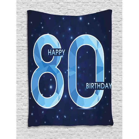 80th Birthday Decorations Tapestry, Diamond Age 80 Happy Birthday Party Theme with Stars, Wall Hanging for Bedroom Living Room Dorm Decor, 60W X 80L Inches, Navy Blue and Sky Blue, - 80 Theme