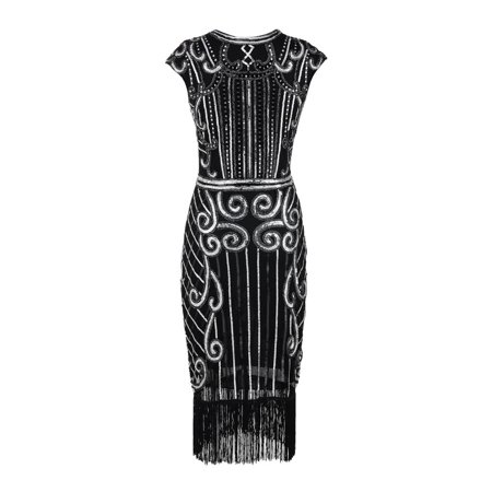 1920's High-Quality Female Tassel Sequin Art Nouveau Embellished Fringed Flapper - 1920 Dresses Cheap