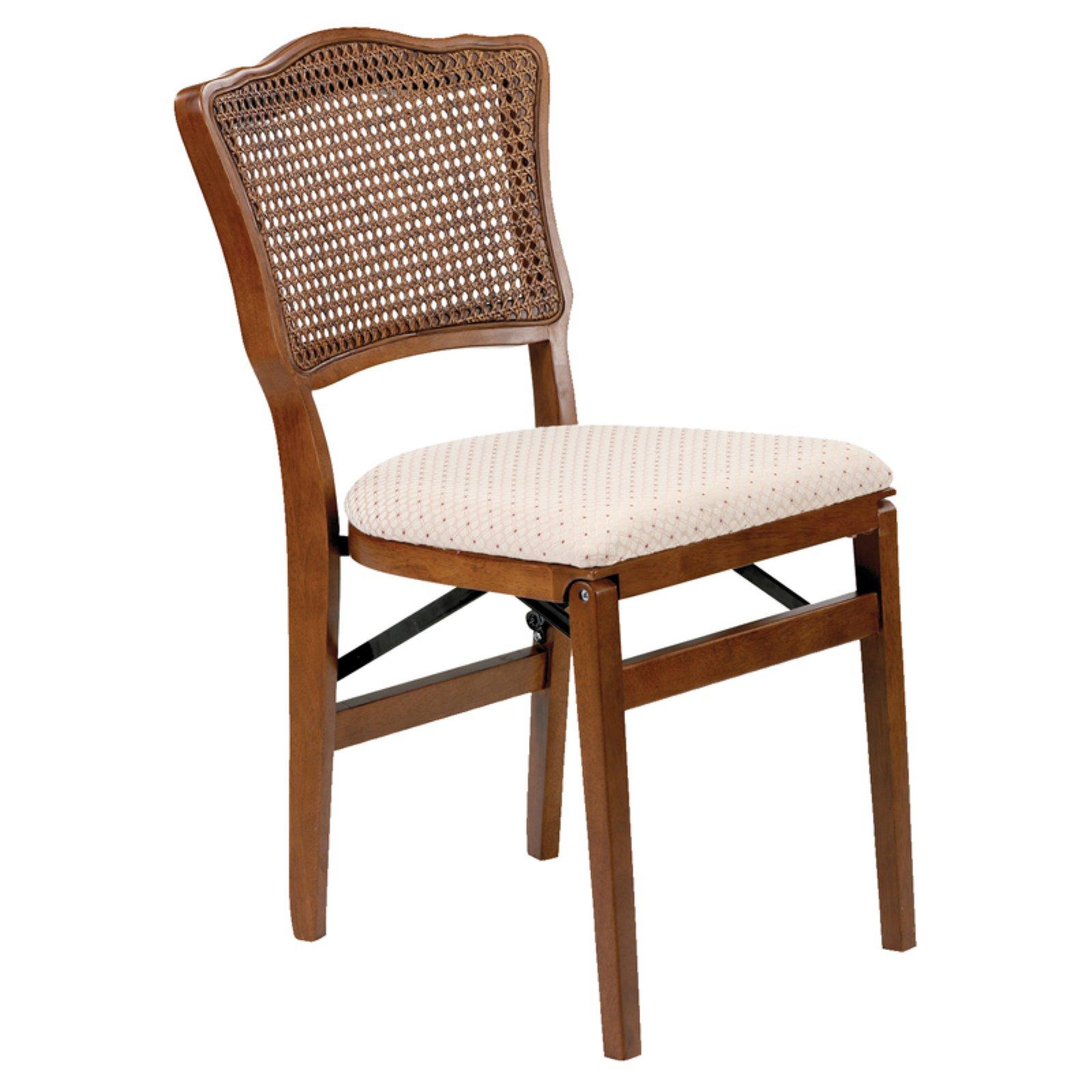 French cane back hardwood folding chair - Fruitwood