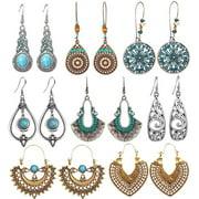 Long Earrings Vintage Drop Dangle Long Earrings for Women Girls Long Bohemian Earrings Set Boho Jewelry 8 Pairs