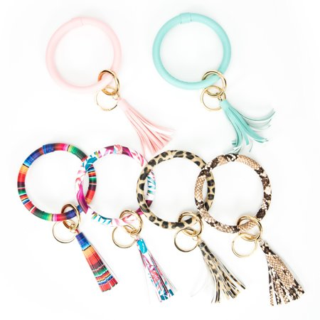 NK HOME Handmade PU Leather Tassel Pendant Bracelet Keychain Car Bag Purse Keyring Key Holder Tassel Ring Key Ring Keychain Wristlet for Women Girls Greek Key Leopard