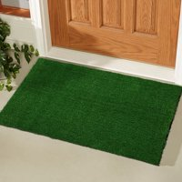 "Ottomanson Evergreen Collection Indoor/Outdoor Turf Solid Design Doormat, 20""X30"", Green"