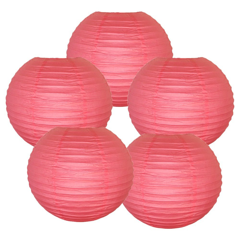 "20"" (Set of 6 Pcs) Paper Lanterns - Rice Paper Chinese/Japanese Hanging Decorations - For Home Decor, Parties, and Weddings"