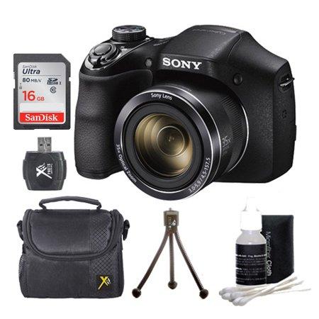 Sony DSC-H300/B DSCH300 H300 H300B DSCH300/B Digital Camera (Black) Bundle w/ 16GB Ultra SDHC UHS Class 10 Memory Card, SD Card Reader, Table Top Tripod, Padded Case, Lens Cleaning Kit ()