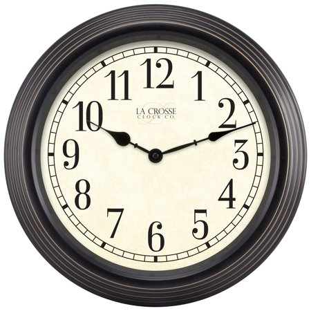 - La Crosse Clock 404-2638 15 Inch Round Brown Antique Analog Wall Clock