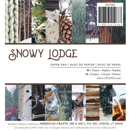 """American Crafts Single-Sided Paper Pad 6""""X6"""" 36/Pkg-Photo Real Snowy Lodge"""