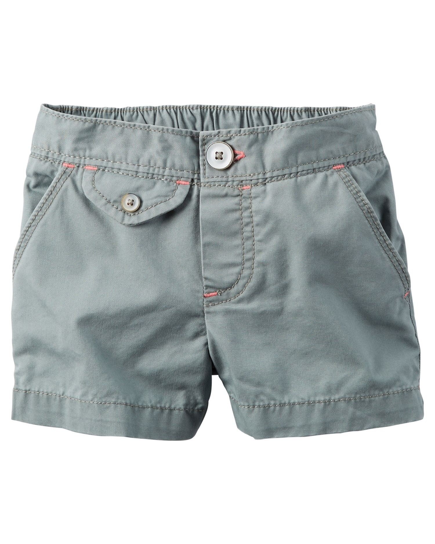 Carter's Baby Girls' Flap-Pocket Twill Shorts, 3 Months