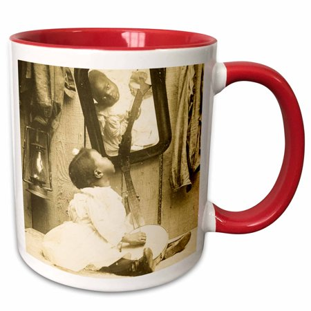 Gibson Vintage Banjo (3dRose Vintage stereoview of a African American girl and her banjo. - Two Tone Red Mug,)