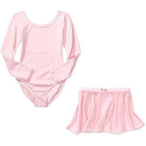 Girls' Long Sleeve Dance Leotard and Skirt 2-Piece Set