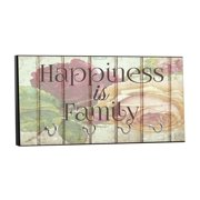 """Happiness is Family - Floral Wood Print Design - 5"""" by 11"""" Key Hanger Rack - Household Decoration with Four Silvertone Hooks"""