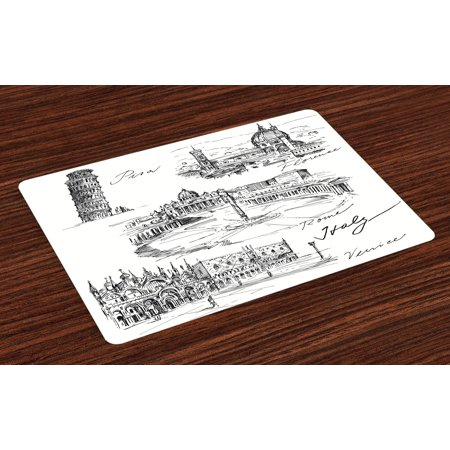 Sketchy Placemats Set of 4 Travel the World Themed Historical Italian Landmarks Venice Rome Florence Pisa, Washable Fabric Place Mats for Dining Room Kitchen Table Decor,Black White, by Ambesonne