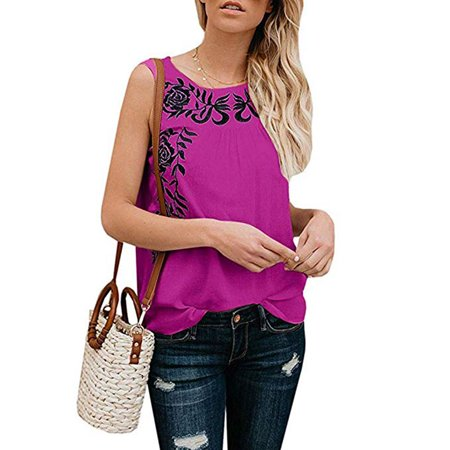 Women Embroidery Floral Tank Top O-Neck Sleeveless Tank Top Camis T-Shirt