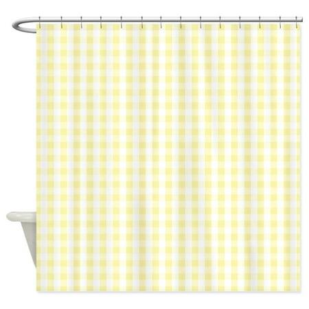 CafePress - Light Pastel Yellow White Gingham Pattern Shower C - Unique Cloth Shower - Shower Pastel