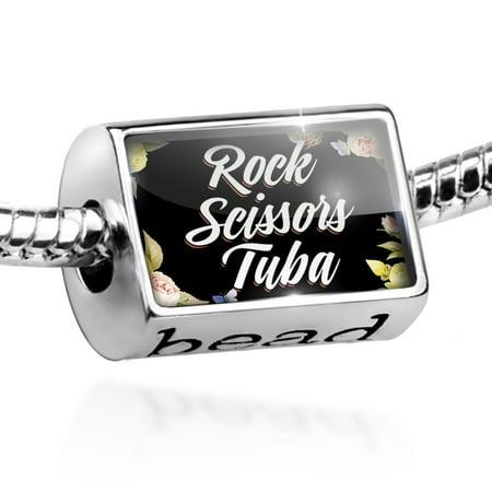 Bead Floral Border Rock Scissors Tuba Charm Fits All European Bracelets (Rock Tuba)