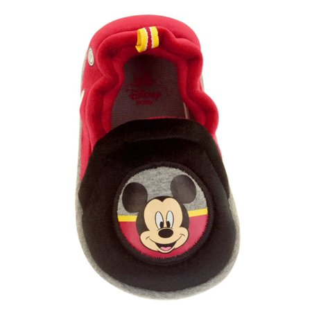 Disney Infant Boys & Girls Red & Black Mickey Mouse Slippers Baby Crib Shoes (Mickey Mouse Shoes Toddler)