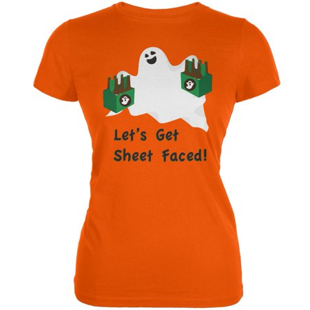 Halloween Ghost Sheet Faced Orange Juniors Soft T-Shirt