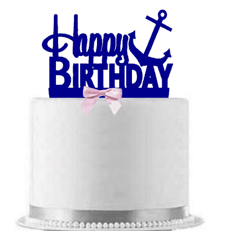 Anchor Pink & Blue Happy Birthday Cake Topper