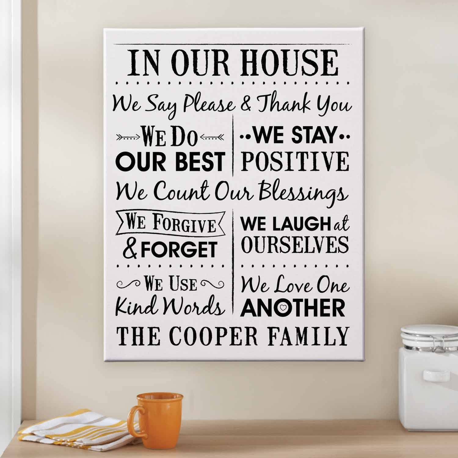 "Personalized Our House Rules Canvas, 11"" x 14"""