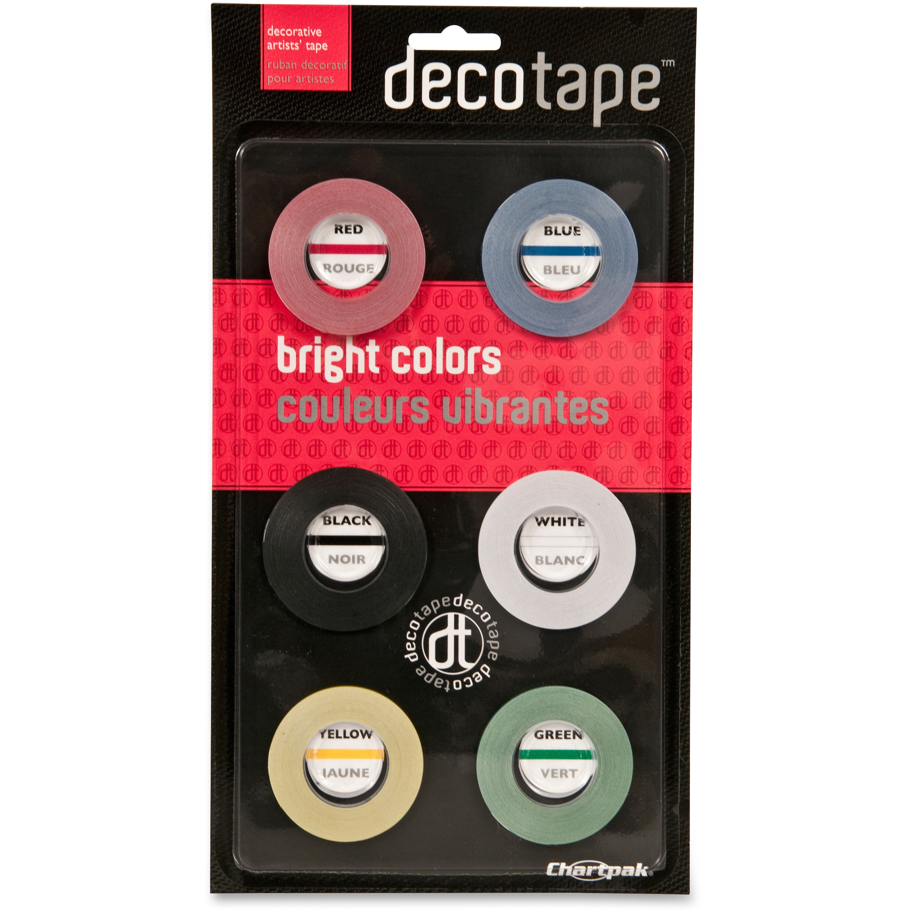 "Chartpak Deco Bright Decorative Tape, 1/8"" x 324"", Red/Black/Blue/Green/Yellow, 6/Box"