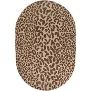 Hand-tufted Brown Leopard Basenji Animal Print Wool Rug (6' x 9' Oval)