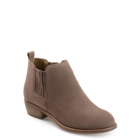 Brinley Co. Women's Stacked Heel Faux Suede Ankle