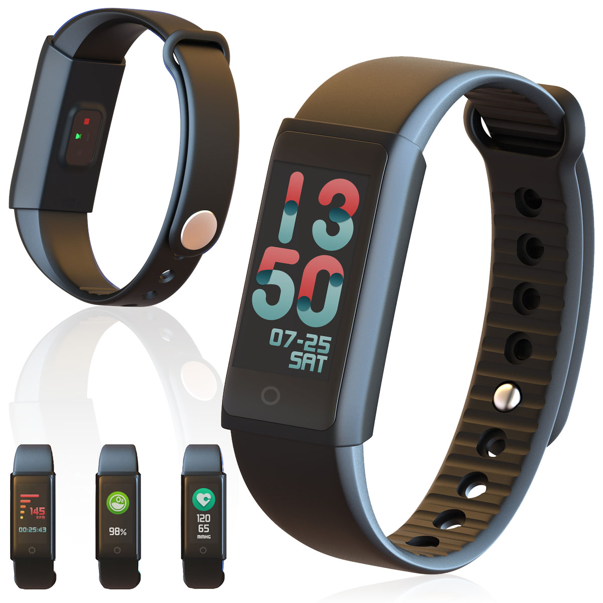 Indigi Waterproof Smart Health Fitness Tracking Bracelet + Heart Rate Sensor, Blood Pressure Monitor, & Pedometer