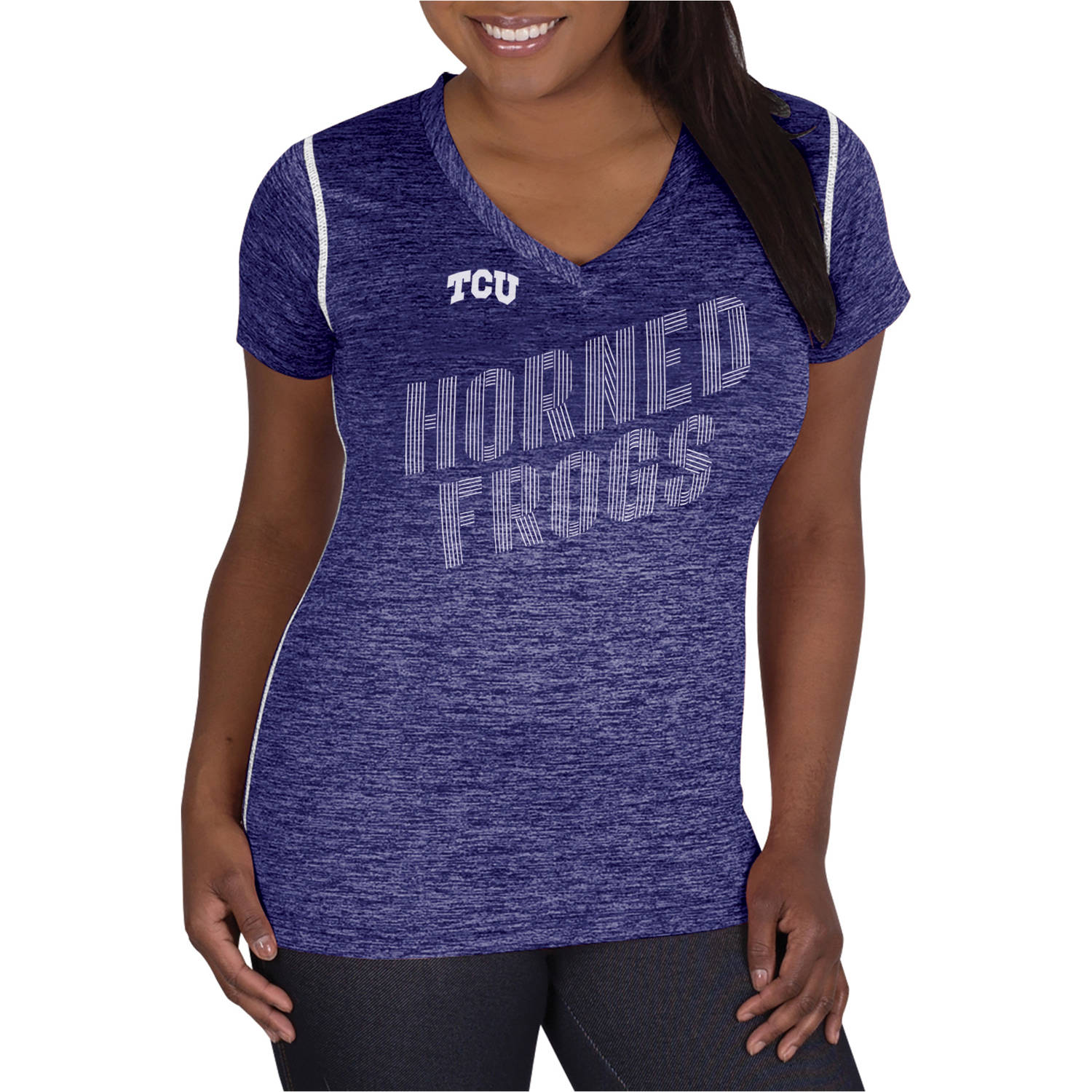 NCAA TCU Horned Frogs Ladies Classic-Fit Synthetic V-Neck Tee