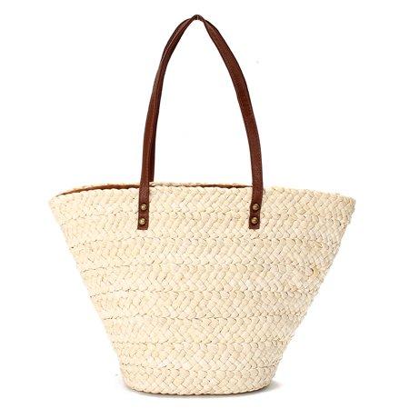 (Women Tote Shopping Beach Bag Straw Woven Shoulder Purse Handbag Summer Shopper)