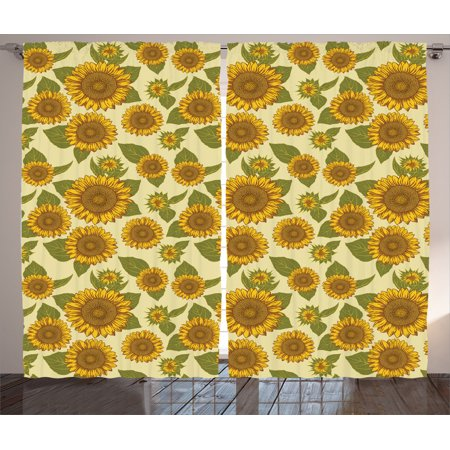 Sunflower Decor Curtains 2 Panels Set Funky Style In Pastel Colors Old Fashioned Nostalgic Vintage Art Print Living Room Bedroom