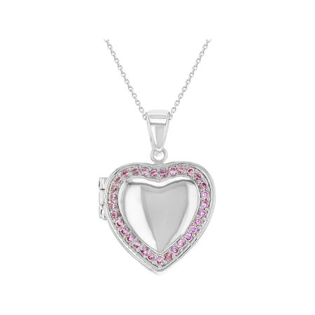 Plated Heart Locket (Rhodium Plated Pink Crystal Heart Photo Locket Pendant Necklace Girls 19