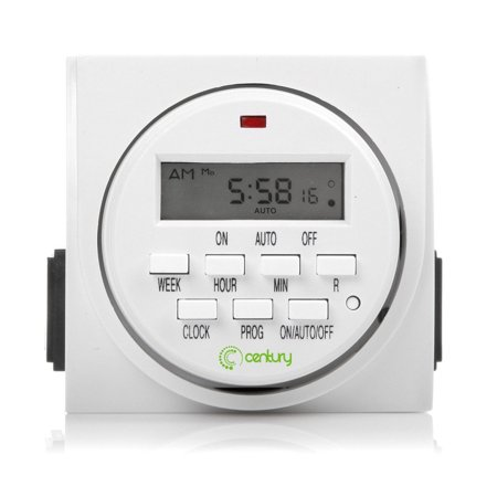 Century 7 Day Heavy Duty Digital Programmable Timer - Dual Outlet (Single Control), Indoor Only