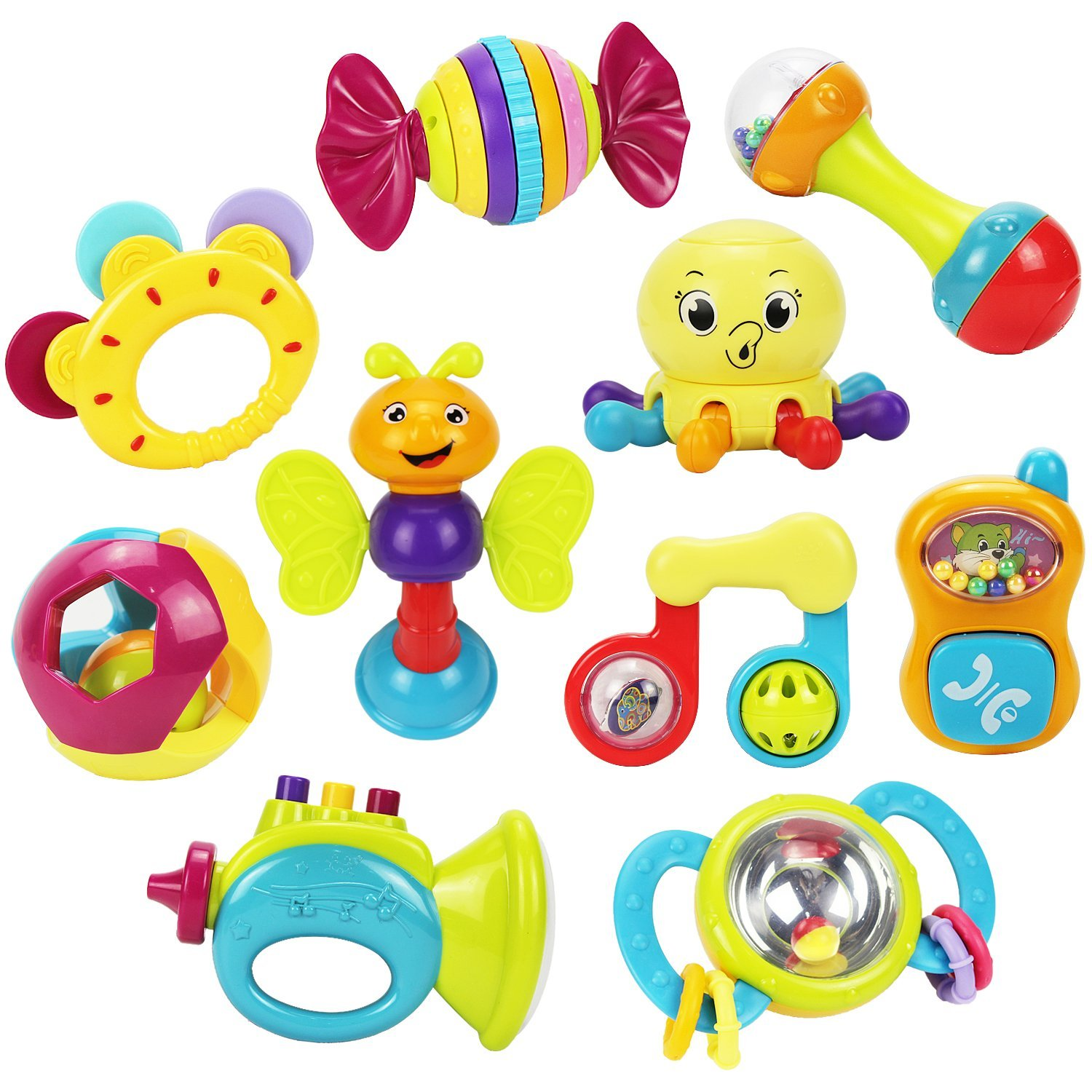 10 Baby Rattles Teether, Ball Shaker, Grab and Spin Rattle, Musical Toy Gift Set for Baby Infant, Newborn... by iPlay%2C iLearn
