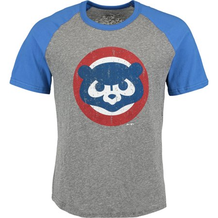 Heather Raglan (Chicago Cubs Majestic Threads Cooperstown Collection Raglan Tri-Blend T-Shirt - Heather Gray/Royal)