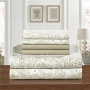 Chic Home SS3706-US 4 Piece Ulrich Park Super Soft Microfiber Vintage Paisley Pattern Printed Two To