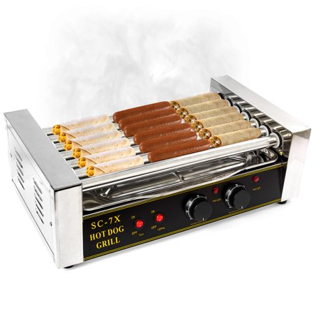 Biltek Hot Dog Grill Roller Commercial 18 Hotdog Maker Warmer Cooker Machine 7-Rollers - image 1 de 7