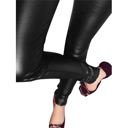 EFINNY Women Plus Size Slim Tight Fake Leather Bottom Pants