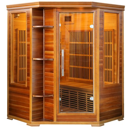 Radiant Saunas Cedar Elite Infrared Sauna for 3 People with 7 Low-EMF Carbon Heaters and Audio System