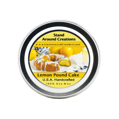 LEMON POUND CAKE TIN 4-OZ. ALL NATURAL SOY CANDLE