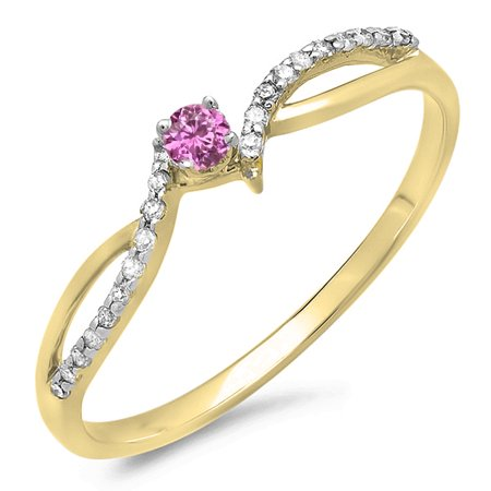 Dazzlingrock Collection 18K Round Pink Sapphire & White Diamond Crossover Split Shank Bridal Promise Ring, Yellow Gold, Size 4 Round Pink Sapphire Diamond