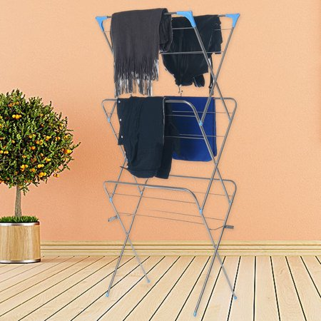 3-Tier Folding Clothes Drying Airer Rack Indoor Outdoor Laundry Dryer Concertina - image 2 de 12