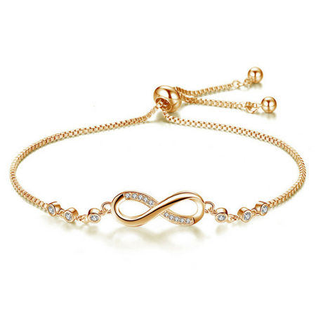 Sterling Silver Plated Adjustable Infinity Charm Bracelet Jewelry Gift For Women (Gold) 10k Gold Plated Charm Bracelet