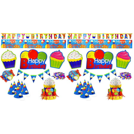Children's 16 Piece Birthday Party Pack! Party Hats - Party Banners - Noise Maker Blow Outs - Center Pieces and More! Perfect for Birthday Parties for any Age!,.., By Black - Duck Noise Maker