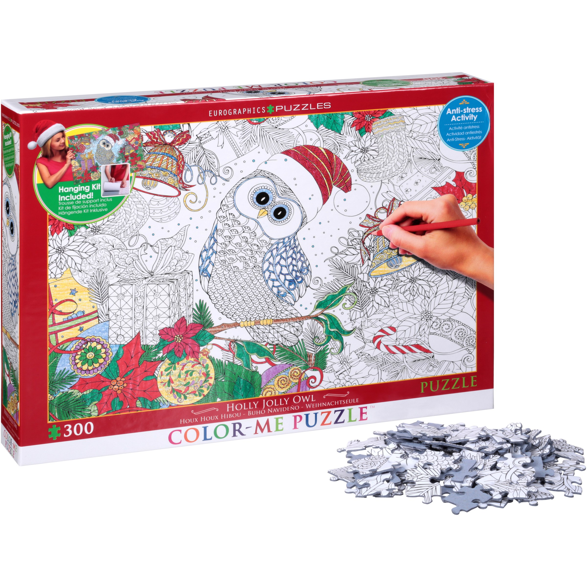 Eurographics Puzzles Holly Jolly Owl Color-Me Puzzle 300 pc Box by EuroGraphics