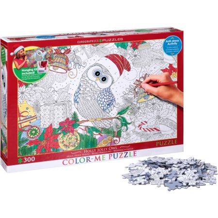 Eurographics Puzzles Holly Jolly Owl Color-Me Puzzle 300 pc - Owl Puzzle