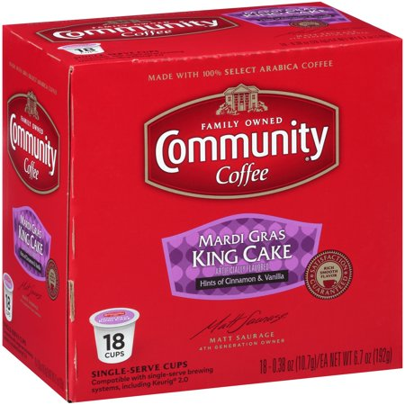 Community® Coffee Mardi Gras King Cake Coffee Single-Serve Cups 18 ct Box Compatible with Keurig 2.0 K-Cup Brewers