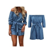c6fa8aecd Topcobe Denim Women Summer Clothing Romper, Summer Short Jumpsuit Rompers  for Women, Blue Women