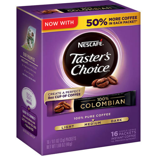NESCAFE Taster's Choice 100% Colombian Instant Coffee Packets, 1.02 oz, 16 count