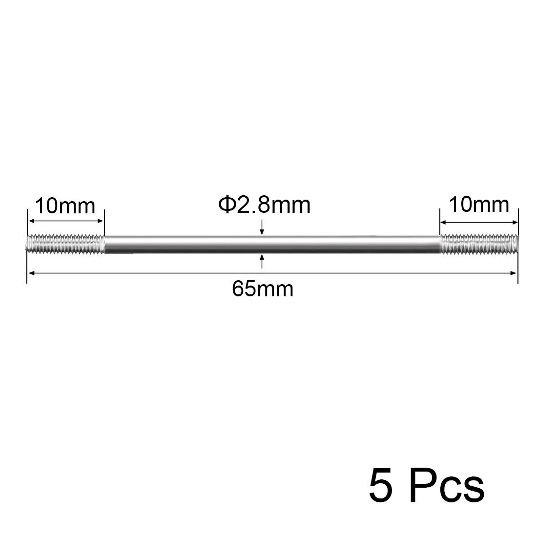 M3x65mm Pushrod Connector Stainless Steel Rod Linkage,5pcs - image 2 de 4